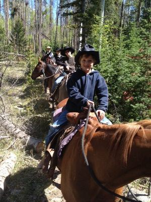 Utah Youngsters enjoying a horse back ride at the trail head at Moon Lake